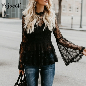 Yojoceli 2018 autumn flare sleeve crochet lace blouses shirt women sexy party see through female blusas tops белая рубашка с объемными рукавами и вырезом