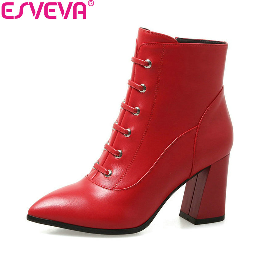 ESVEVA 2019 Women Shoes Zip Hoof High Heels Ankle Boots Shoes Pointed Toe Western Style Cross-tied Autumn Woman Boots Size 34-39 new natural raccoon fur pompom hat thick winter for women cap beanie hats knitted cashmere wool caps female skullies beanies