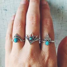 2019 New Bohemia 3Pcs/Set Leaf Crown Resin Rings Set Antique Silver Alloy Midi Knuckle Finger for Women Jewelry
