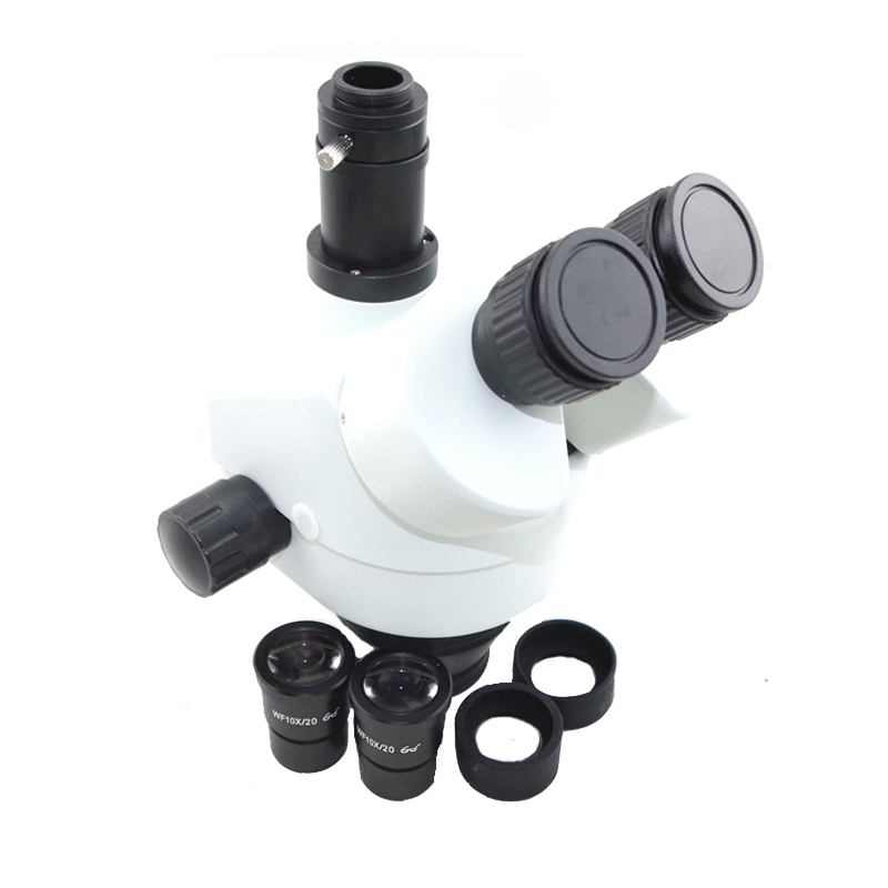 Russia Free shipping 7-45X 3.5X-90X Trinocular Stereo Zoom Big table stand Microscope with 0.5X 2.0X Auxiliary Objective Lens