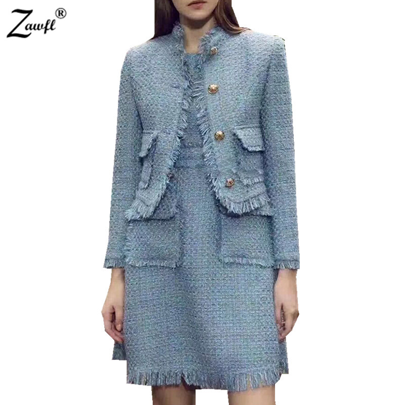 High Quality Winter Women Tweed 2 Piece Set Dress 2019 Designer Long Sleeve Short Jacket Coat + Bodycon Mini Party Skirt Suit