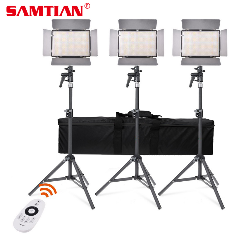 SAMTIAN Adjustable TL-600A LED Video Light Kit Bi-Color Photography Lighting with NP-F750 Battery For Photo Video Studio Light travor tl 600a 2 4g kit bi color led video light 3200k 5500k for photography shooting three light 6pcs battery 3 light standing
