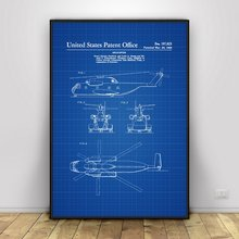 Blueprint poster promotion shop for promotional blueprint poster on 1964 helicopter design patent helicopter blueprint art silk poster home decor 12x18 24x36inch malvernweather Gallery