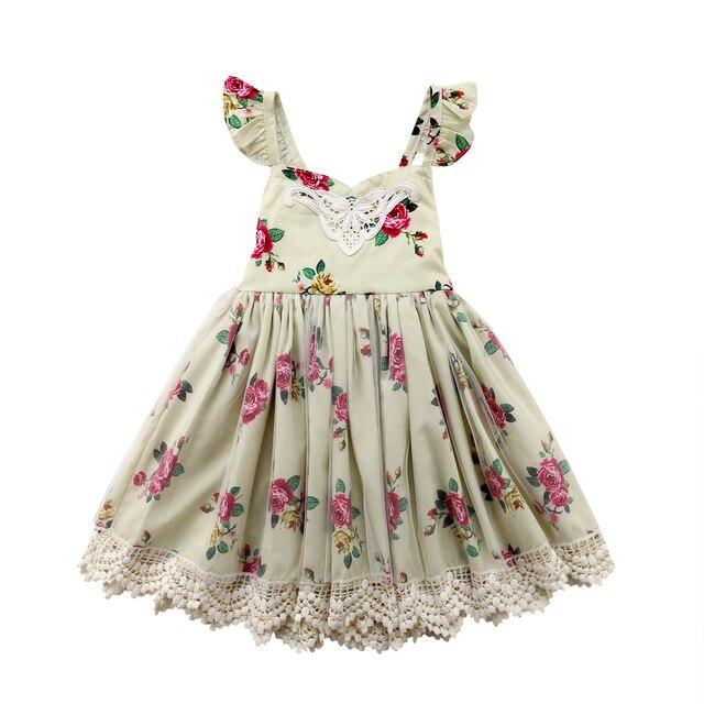 d066d2daf3167 2018 Wedding Lace Flower Girl Dress Tutu Formal Yellow Mesh Girl's Evening  Dress Summer Cute Sundress