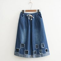 2017 New Women S Leisure To Do The Old Solid Color Hole Chess Characters Denim Seven