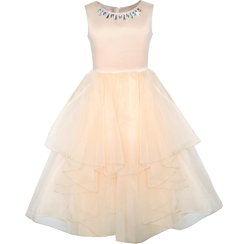 Sunny Fashion Flower Girls Dress Rhinestone Tulle Wedding Pageant Bridesmaid 2018 Summer Princess Party Dresses Size 5-12 Gowns flower girls dress embroidered sequin wedding pageant bridesmaid 2017 summer princess party dresses kids clothes size 7 14
