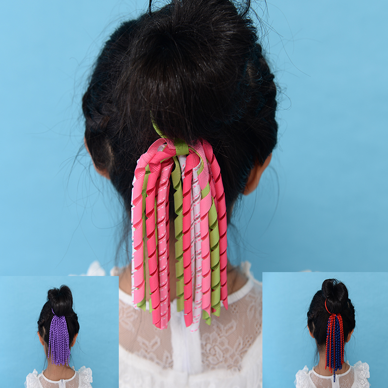 все цены на  free shipping 50pcs ponytail holders streamer to mix color corker pony streamer colorful with elastic rope hair accessories kids  онлайн
