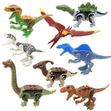 Купить с кэшбэком 8pcs/lot Dinosaurs Jurassic World Park Building Blocks Mini Bricks Figures Kids Baby Toys Gifts Compatible legoeINGly Juguetes