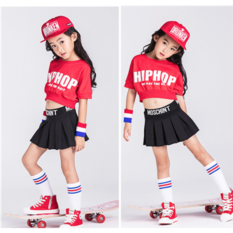 Girls Children Jazz Dance Costumes Sets White Letter Printed Short-Sleeved hip-hop Kids Halloween Christmas Party Clothing