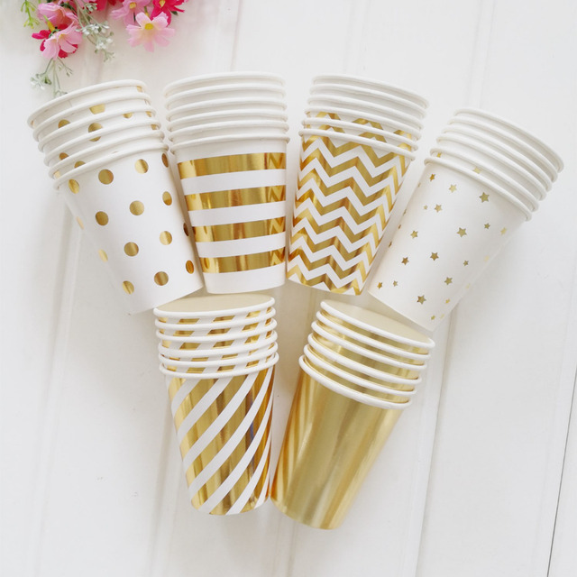 kuchang 10 Pcs/Lot 270ml Gold Silver Stripes and Dot Paper Cups Wedding Birthday Party Tableware Disposable Cups Party Supplies