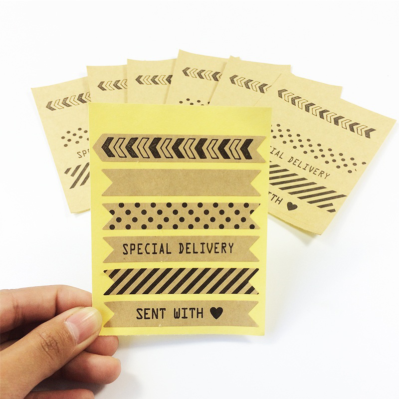 60PCS/Lot  NEW Vintage Stripe Design Kraft Paper Sticker For Handmade Products DIY Multifunction Gift Seal Sticker Label