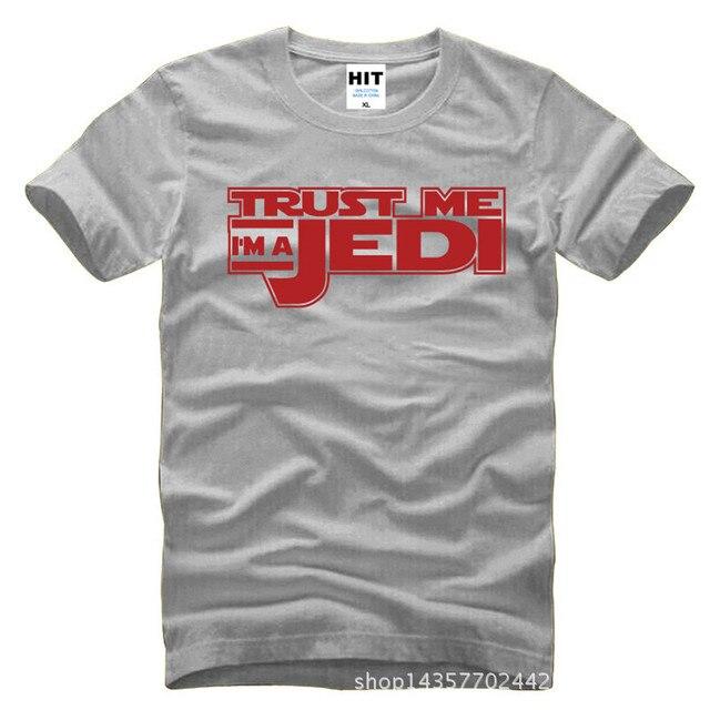 Star Wars Trust Me estoy un Jedi impreso Mens hombres T Shirt camiseta moda 2015 nuevo algodón O de cuello camiseta Tee Camisetas Hombre