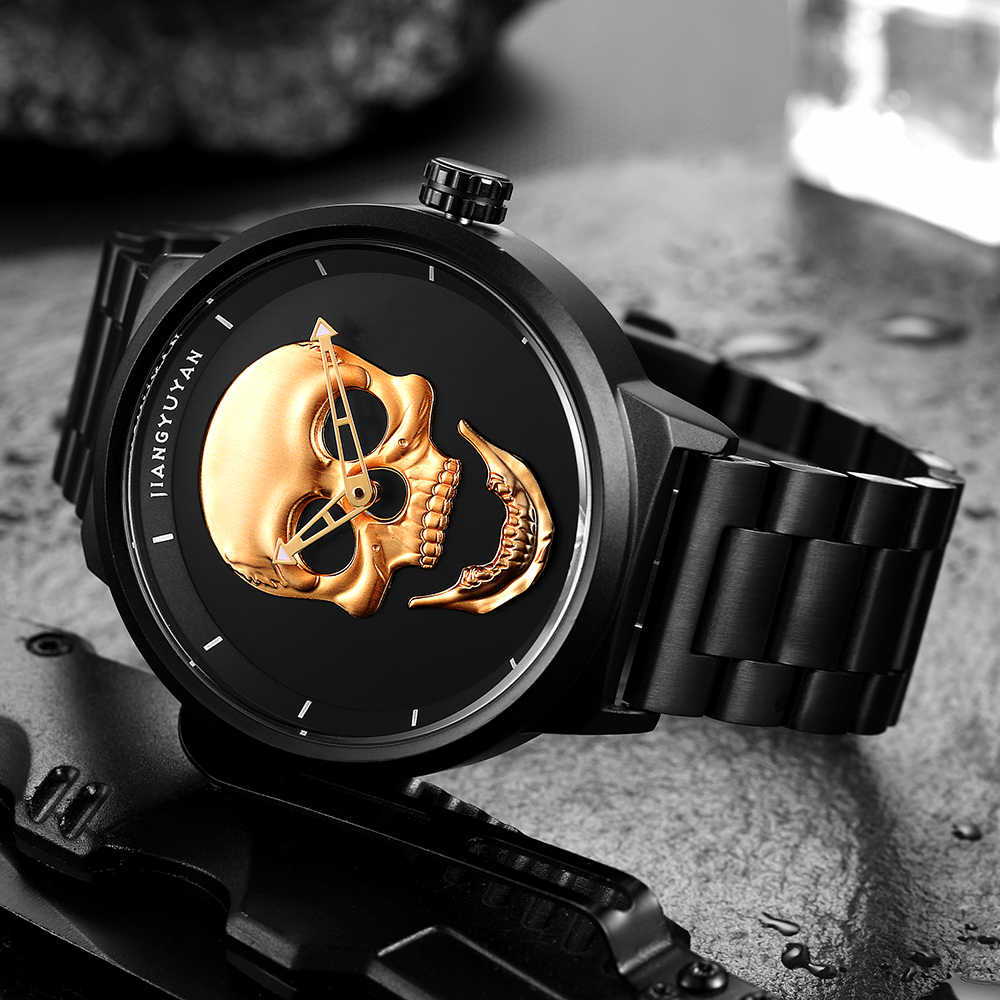 2019 חם פיראטים פאנק 3D גולגולת גברים שעון מותג יוקרה פלדת קוורץ זכר שעונים רטרו אופנה זהב שחור שעון montre homme 2019