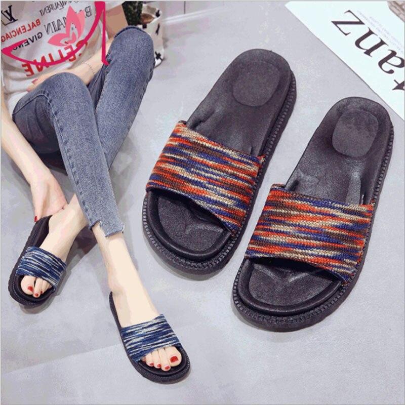 QICIUS Новая модная летняя обувь в полоску Для женщин тапочки обувь босоножки на платформе шлепанцы женская обувь Q0311