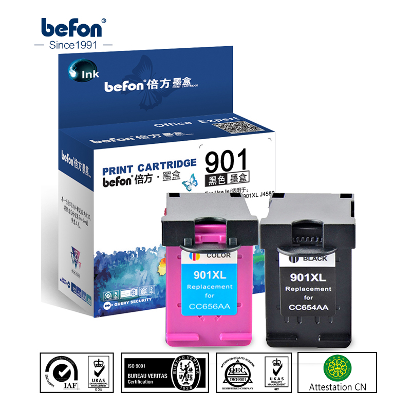 befon Re-manufactured 901XL Cartridge Replacement for HP 901 Ink Cartridge for Officejet 4500 J4500 J4540 J4550 J4580 J4640 4680 cmyk supplies compatible ink cartridge replacement for hp 901 hp 901xl 4500 j4580 j4550 j4540 4500 j4680 j4524 j4535 j4585 j4624