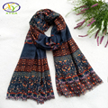 1PC 180*90cm 2016 Fall & Winter New Design Bohemia Style Floral Cotton Women Tassels Long Scarf  Woman New Cotton Long Shawls