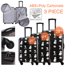 """DAVIDJONES 20″24″28″ 3Piece spinner Luggage Sets Multiwheel Hardside PC + ABS Vintage Trolley carry-on 20"""" borading suitcase"""