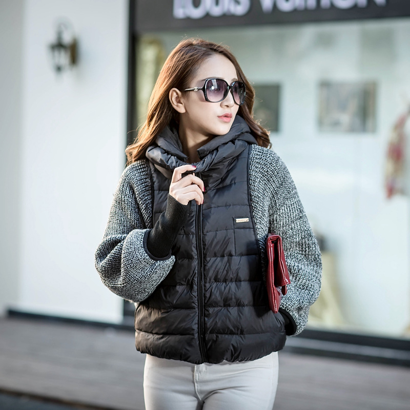 2019 New Fashion Female Women's Winter Down Coat Jacket Sleeve Wool Knit Splicing Bat Sleeve Cape Short Female Warm Jacket W007