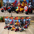 1 Шт. Мстители Marvel DC Super Heroes Строительные Блоки Мотоцикл езда Мини Действие и Игрушки Фигурки Дети Дети DIY Игрушка в Подарок