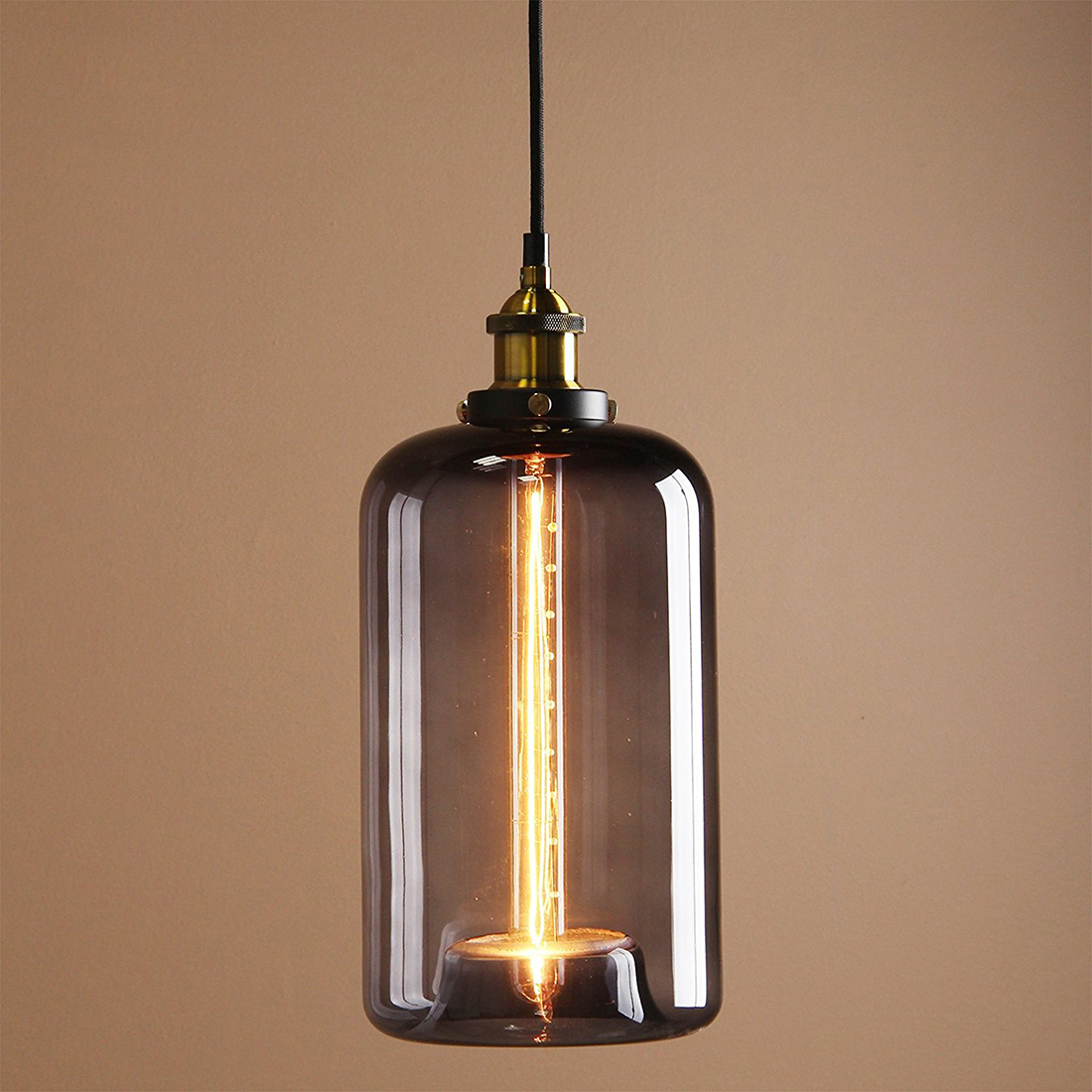 Vintage Industrial Metal Finish Glass Shade Loft Pendant Lamp Retro Ceiling Vintage Light fitting 18cm Cannon glass shade