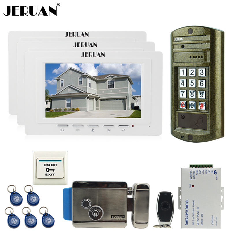 JERUAN 7 inch Video Door phone Intercom System kit 3 Monitor +NEW Metal waterproof password keypad HD IR Mini Camera +E-lock 1V3 jeruan 8 inch tft video door phone record intercom system new rfid waterproof touch key password keypad camera 8g sd card e lock