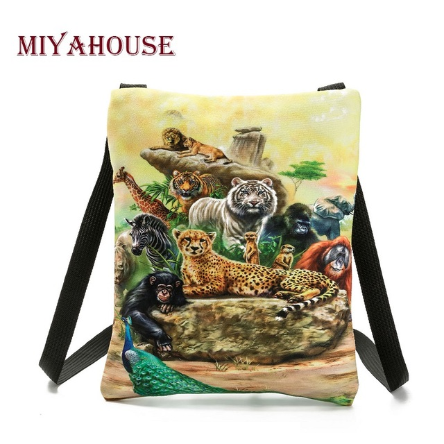 Colorful Animals Printed Messenger Bag For Girl Summer Ladies Mini Flap Shoulder Bag Casual Canvas Female Small Bag 1