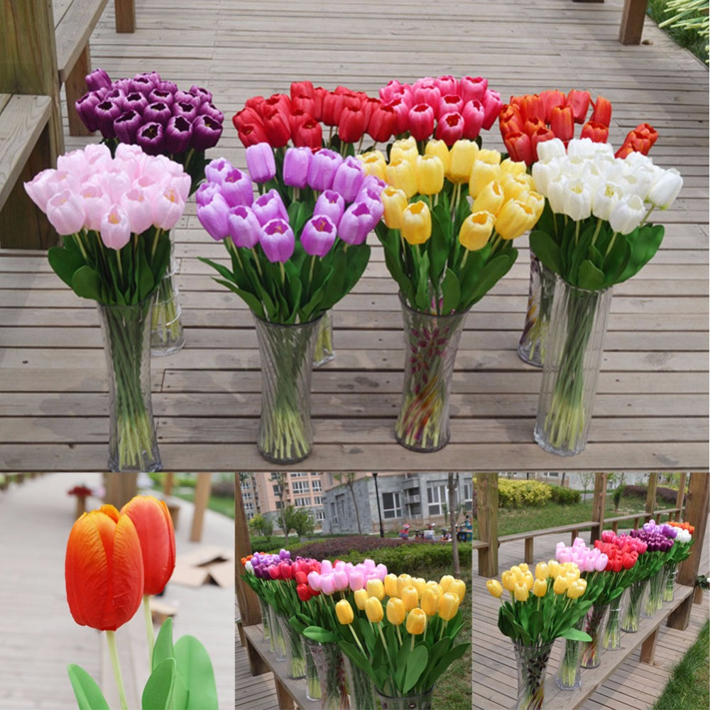 8 colors 5pcs lot tulip artificial flowers with leaves for Artificial flowers for wedding decoration