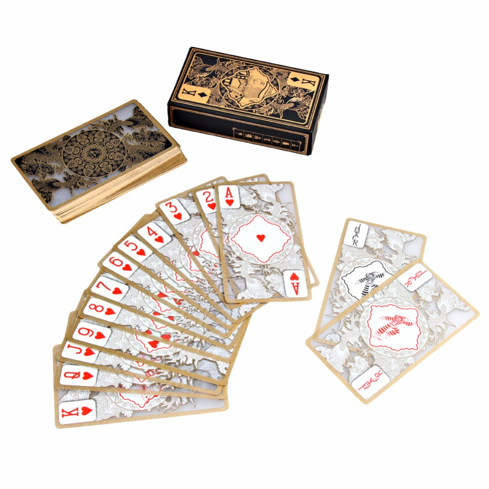 Vattentät Transparent Pvc Poker Gold Edge Lekort Dragon Card Novelty Högkvalitativt Collection Board Game Gift Durable