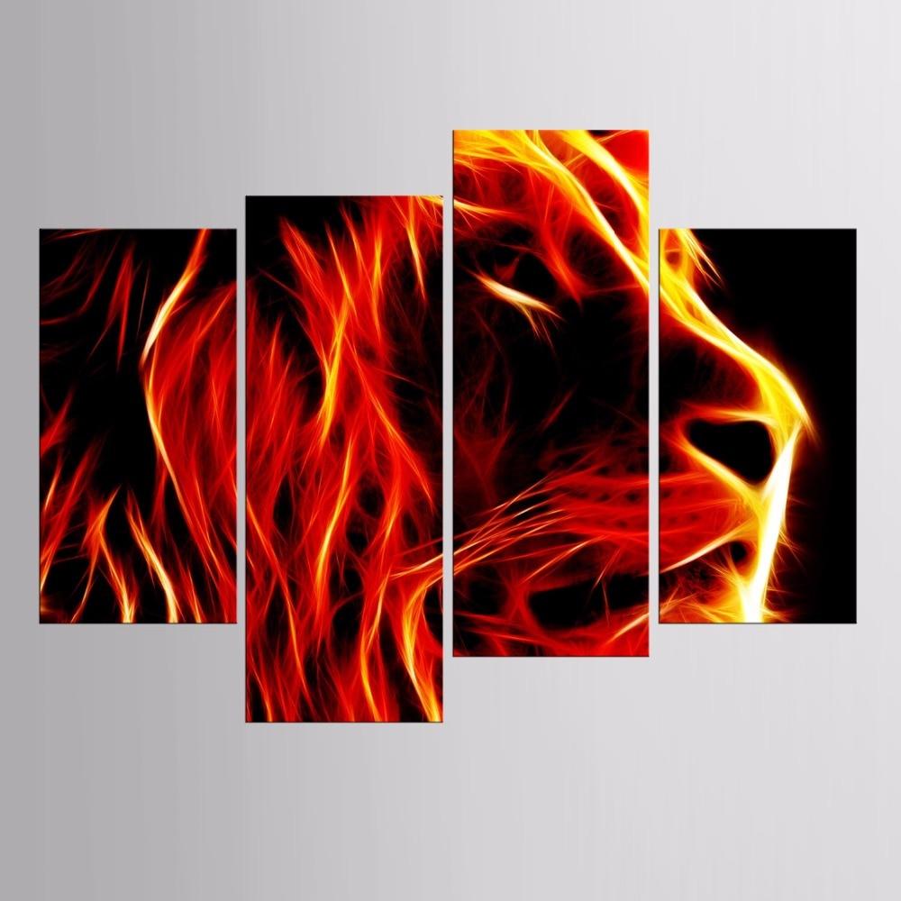 Лидер продаж Рамку 4 панели картина огненный Лев животных серии HD Печать холст картина Книги по искусству работы стене Книги по искусству Хо...