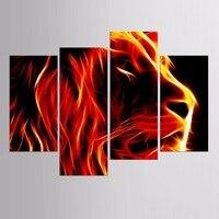 المبيعات الساخنة مؤطر 4 لوحات الصورة حريق الأسد الحيوان سلسلة hd قماش طباعة اللوحة الفنية جدار الفن قماش اللوحة بالجملة