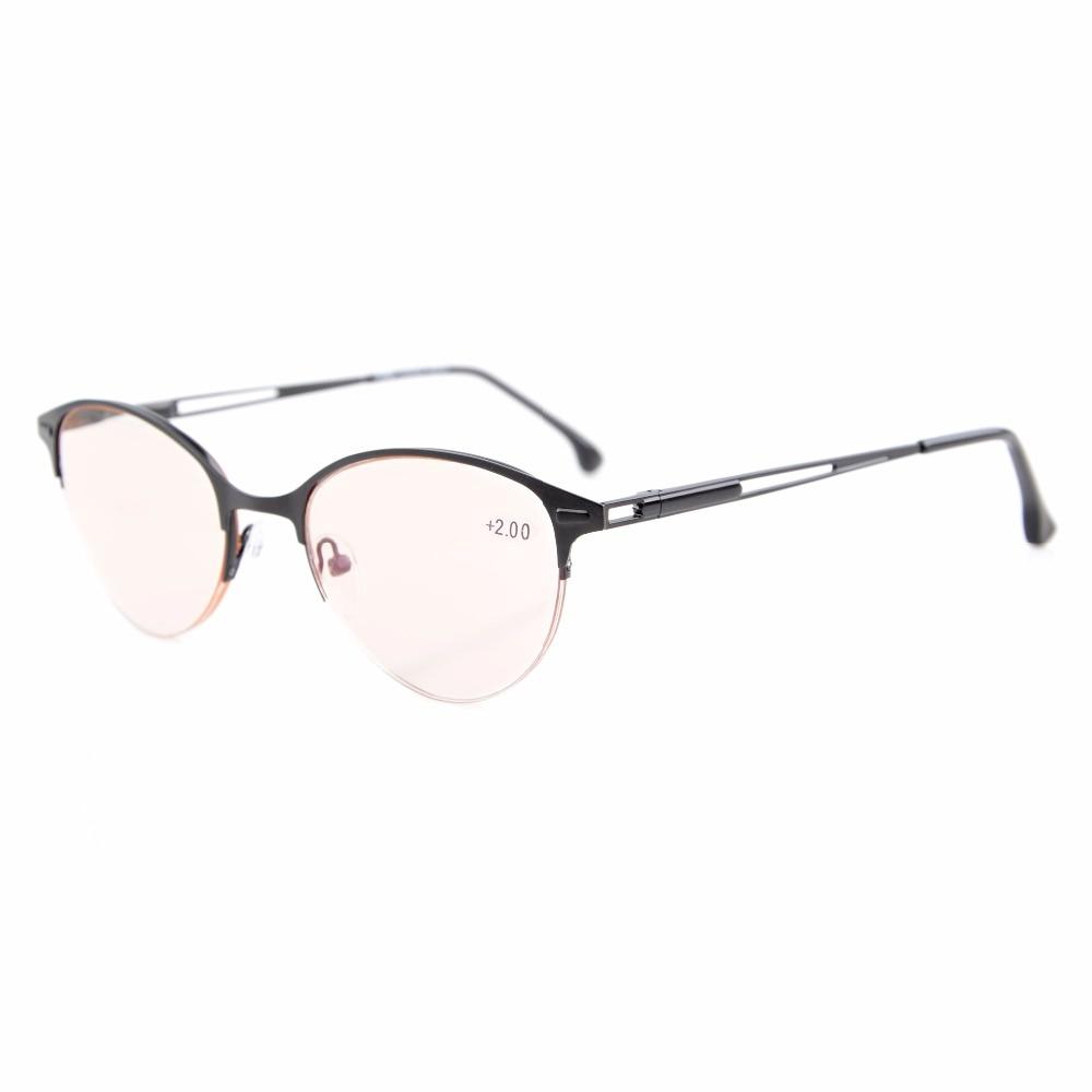 CG1648 Eyekepper Quality Spring Hinges Half-Rim Cat-eye Style Amber Tinted Lenses Computer Reading Glasses Women