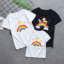 Family Bows Tee Children Cute Unicorn Face Harajuku Tshirt Summer Baby Boys/Girls Cartoon Tops Short Sleeve T-shirt Kids Clothes
