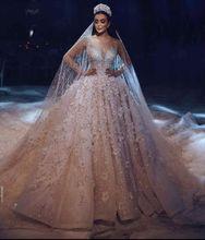 Luxurious Royal Train Wedding Dress 2019 New Long Sleeves Ball Gown Bridal Vestidos Dubai Arabic Muslim  Gowns