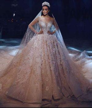 Luxurious Royal Train Wedding Dress 2020 New Long Sleeves Ball Gown Bridal Vestidos Dubai Arabic Muslim  Gowns