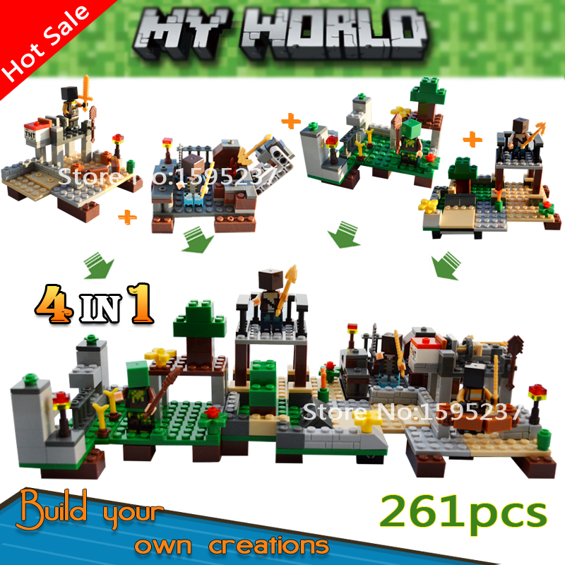 Smartable Model building blocks set 261pcs 4 in 1 my world Minecrafted steve zombie action figure toys gift Lepin Minecrafted 8 in 1 military ship building blocks toys for boys