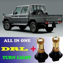 2 pcs Dual Color Switchback T20 7440 Frente Luzes de Circulação Diurnas DRL & Turn Signal luz Para Toyota LAND CRUISER 200 2007-2015