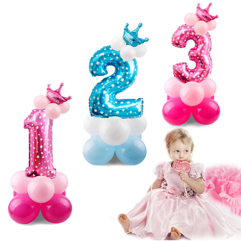QIFU doğum günü şapkası s Dekor Kap Bir Ilk doğum günü şapkası Prenses Taç 1st 2nd 3rd Yıl Eski Numara Doğum Günü Partisi Süslemeleri Çocuklar