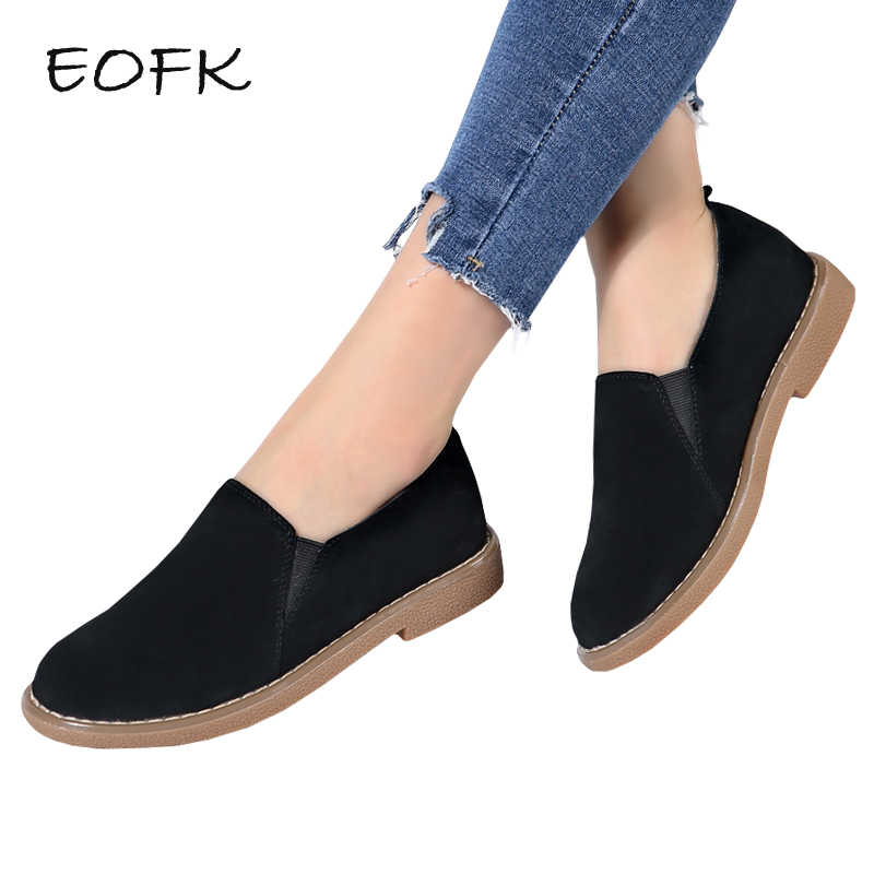 b603b5e10 EOFK Women Loafers Womens Ballet Flats Casual Flat Shoes Woman Slip On  Genuine Leather Shoes Solid