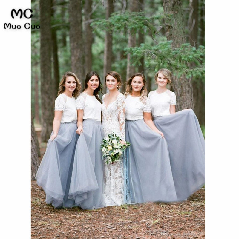 Two Piece Crew Short Sleeves Floor-Length Light Grey Bridesmaid Dress with Lace4