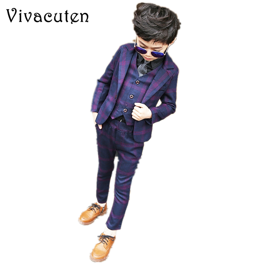 Boys Formal Suits for Weddings Brand England Kids Fashion Party Tuxedos Boys Gentlemen Blazer Vest Pants 3PCS Suit Set F003