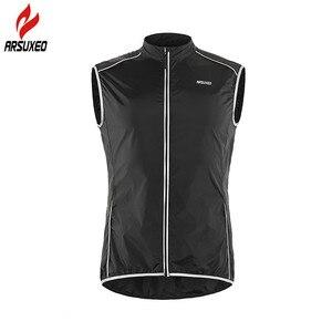 Image 2 - ARSUXEO светоотражающий мужской жилет для велоспорта ветронепроницаемый велосипедный жилет для бега с карманом на молнии сзади Светоотражающая одежда