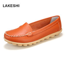 2017 Shoes Woman Leather Women Shoes Flats 7 Colors footwear Loafers Slip On Women's Flat Shoes Moccasins Plus Size(China)