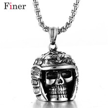 Vintage Skeleton Skull Halloween Necklace Punk Pendant Fashion Jewelry Wholesale Dominant Charms for Men and Women vintage skull eagle hollow out pendant necklace for men