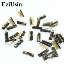 EziUsin 100pcs SMD 1.27mm 피치 핀 금도금 이중 핀 2x10P 1.27mm 이중 행 핀 헤더 SMT 2*10P 커넥터 핀 헤더