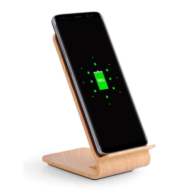 Текстура древесины быстро Беспроводной Зарядное устройство для iPhone X 8 MI2S samsung Galaxy S6 S7 край S8 S9 плюс Беспроводной Зарядное устройство Док станция Стенд держатель QI