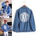 e85dce46d5370 Jeans Jacket Women 2015 Fall Winter Korean Style Vintage Fashion Casual  Letter Print Striped Long Sleeve Blue Denim Coat C31 US   33.99 piece