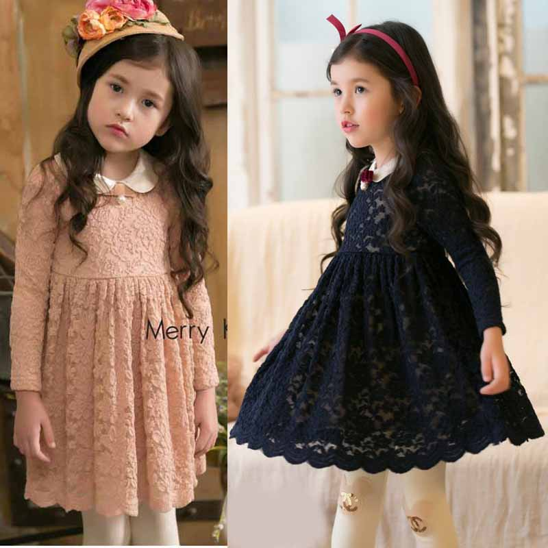 Flower Girl Princess lace Dress Toddler Baby Wedding Party Tulle Dress 2-8y kids autumn winter clothes 2016 toddler flower girl dress winter children girl clothing autumn kid clothes brand long sleeve princess party wedding vintage