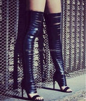 2016 Sexy Women Gladiator Thigh High Boots Cut outs High Heels Summer Autumn Gold Boots for Wholesale