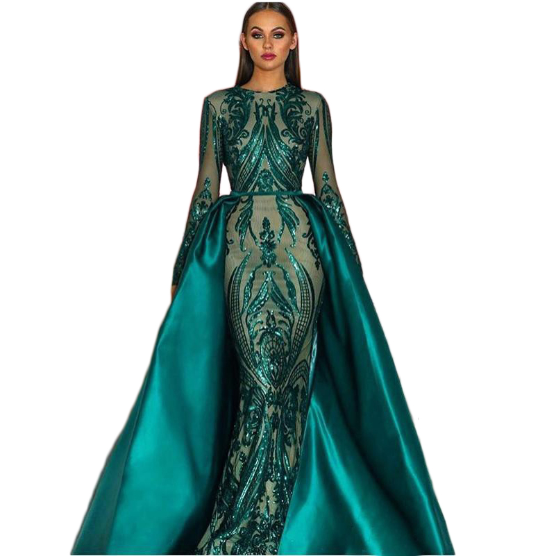 Elegant Arabic Lace Long   Evening     Dresses   With Detachable Train Sequin Bling Green   Evening   gowns for women Formal   dress