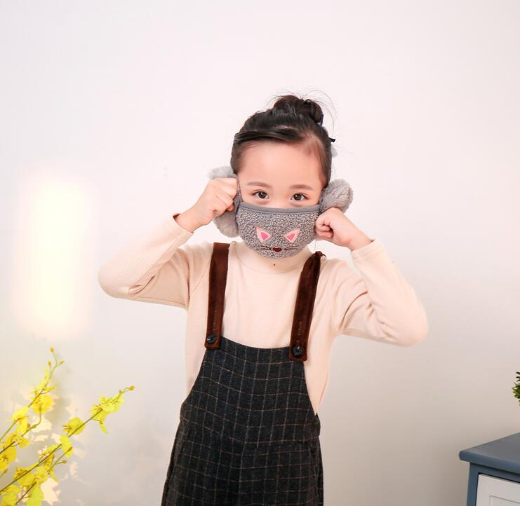Children's Cartoon Cotton Thicken Lining Warm Wind-proof Mask Kids PM 2.5 Breathable Mouth-muffle Ear Cover Ear Protecting R453